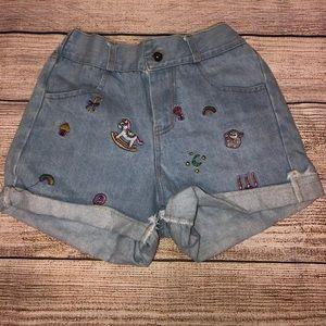 Embroidered High Waist Shorts